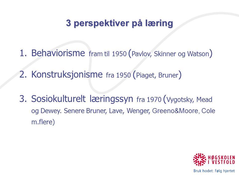 1.Behaviorisme fram til 1950 ( Pavlov, Skinner og Watson ) 2.Konstruksjonisme fra 1950 ( Piaget, Bruner ) 3.Sosiokulturelt læringssyn fra 1970 ( Vygotsky, Mead og Dewey.