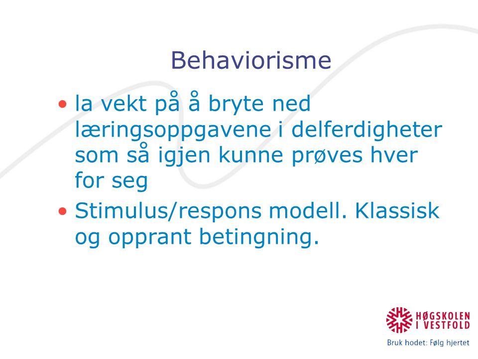 Behaviorisme la vekt på å bryte ned læringsoppgavene i delferdigheter som så igjen kunne prøves hver for seg Stimulus/respons modell. Klassisk og oppr