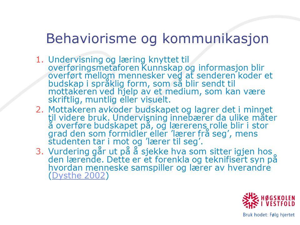 Behaviorisme og kommunikasjon 1.Undervisning og læring knyttet til overføringsmetaforen Kunnskap og informasjon blir overført mellom mennesker ved at senderen koder et budskap i språklig form, som så blir sendt til mottakeren ved hjelp av et medium, som kan være skriftlig, muntlig eller visuelt.