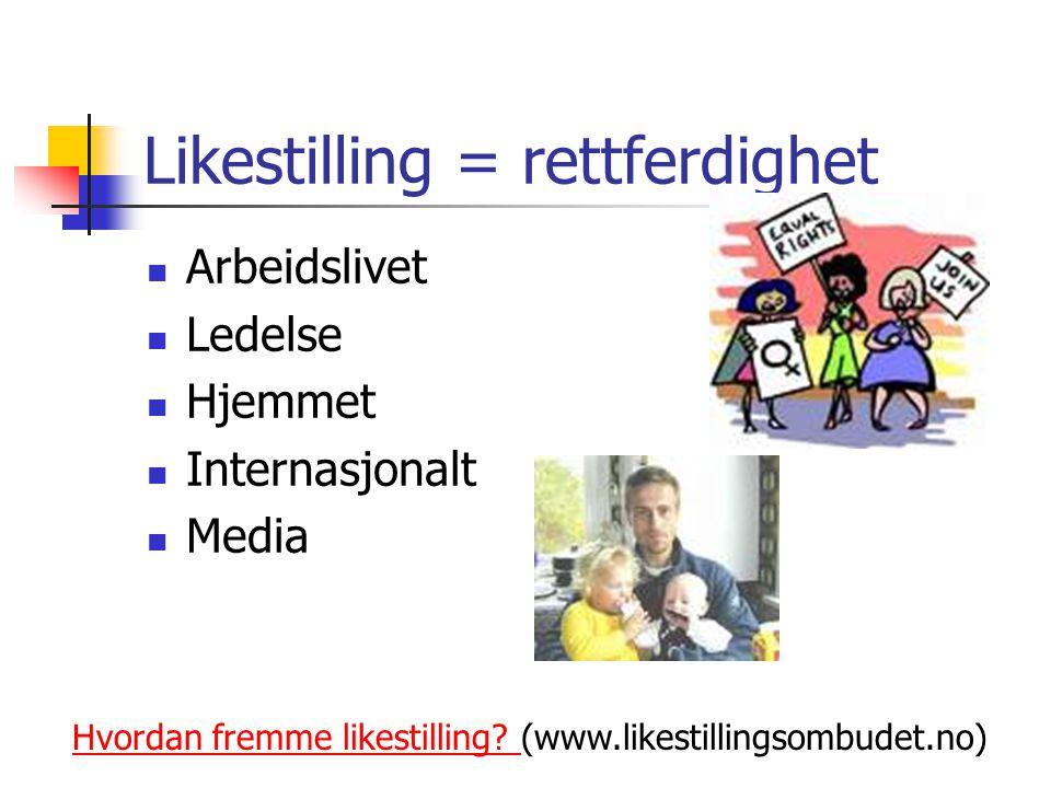Likestilling = rettferdighet Arbeidslivet Ledelse Hjemmet Internasjonalt Media Hvordan fremme likestilling? Hvordan fremme likestilling? (www.likestil