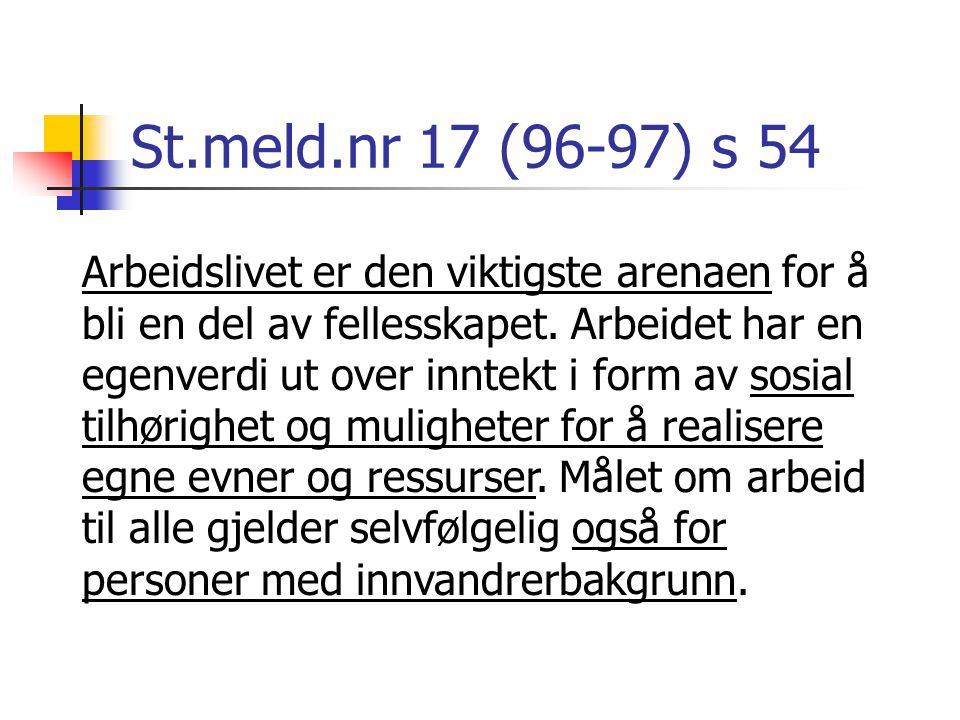 St.meld.nr 17 (96-97) s 54 Arbeidslivet er den viktigste arenaen for å bli en del av fellesskapet. Arbeidet har en egenverdi ut over inntekt i form av