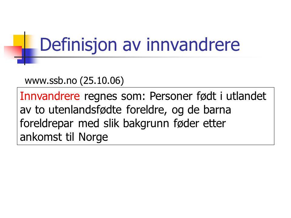 Definisjon av innvandrere www.ssb.no (25.10.06) Innvandrere regnes som: Personer født i utlandet av to utenlandsfødte foreldre, og de barna foreldrepar med slik bakgrunn føder etter ankomst til Norge