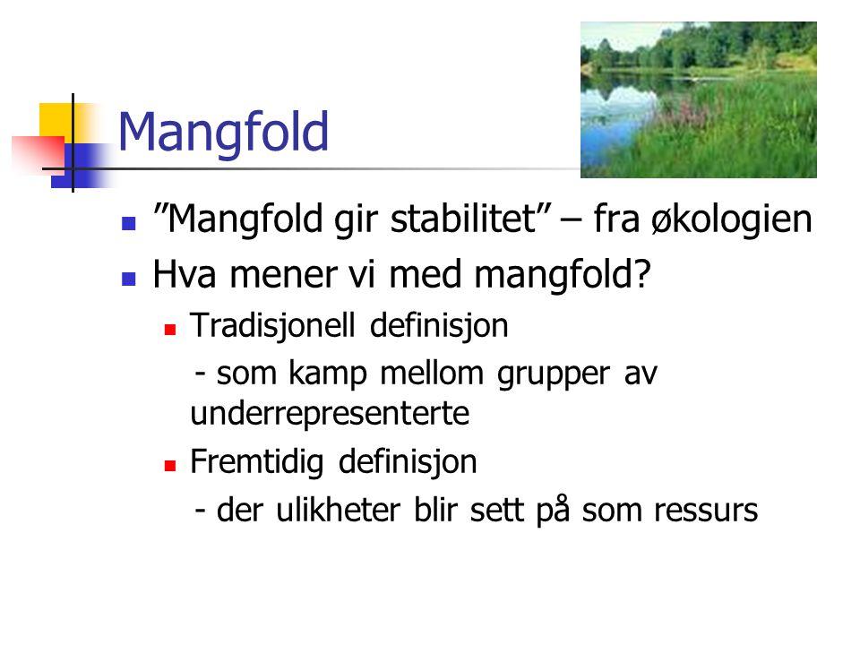 """Mangfold """"Mangfold gir stabilitet"""" – fra økologien Hva mener vi med mangfold? Tradisjonell definisjon - som kamp mellom grupper av underrepresenterte"""