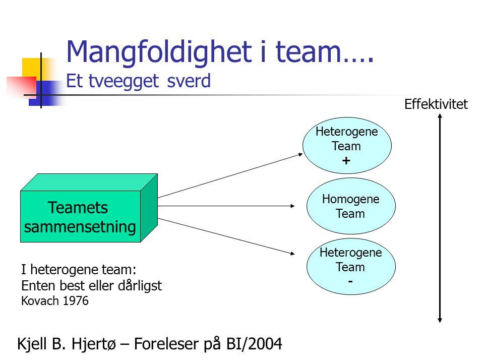 Mangfoldighet i team…. Et tveegget sverd Kjell B. Hjertø – Foreleser på BI/2004 Teamets sammensetning Effektivitet Heterogene Team + Homogene Team Het