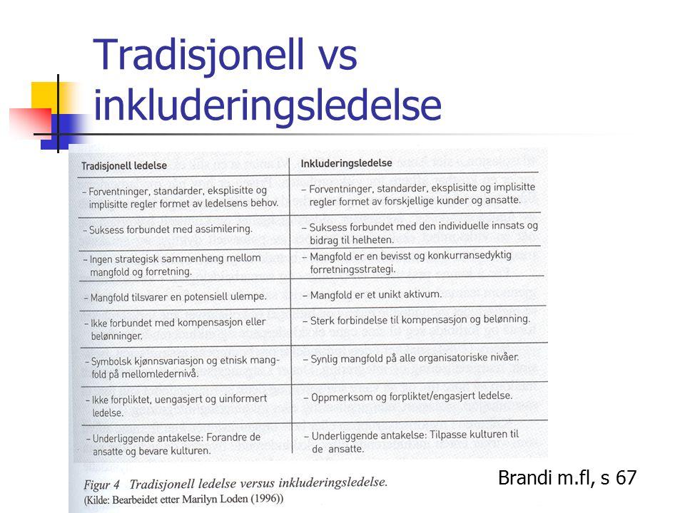 Tradisjonell vs inkluderingsledelse Brandi m.fl, s 67