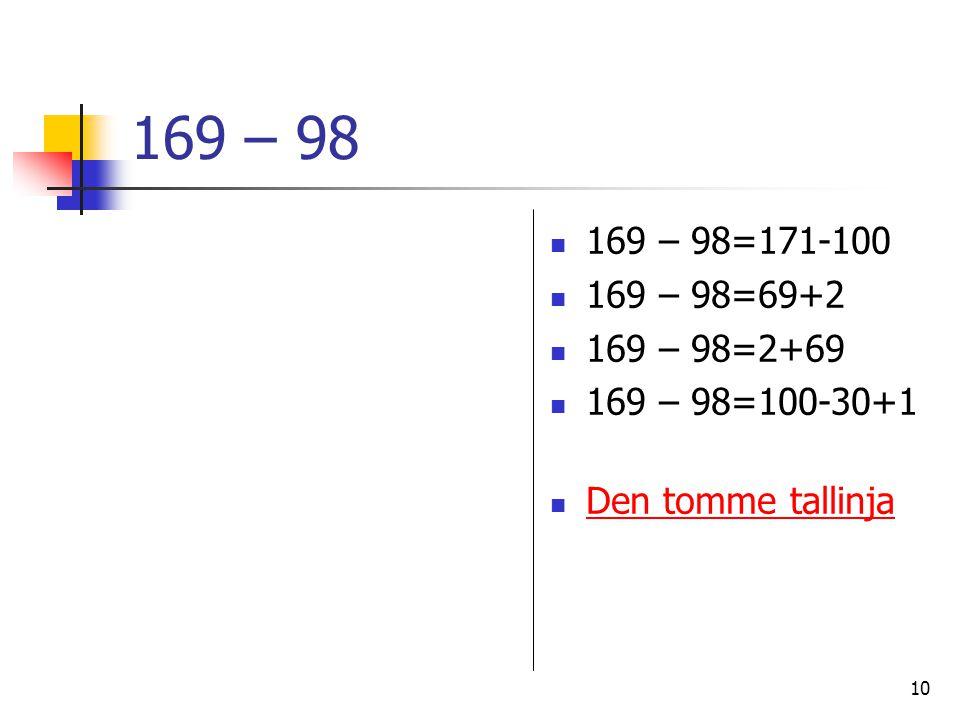 10 169 – 98 169 – 98=171-100 169 – 98=69+2 169 – 98=2+69 169 – 98=100-30+1 Den tomme tallinja