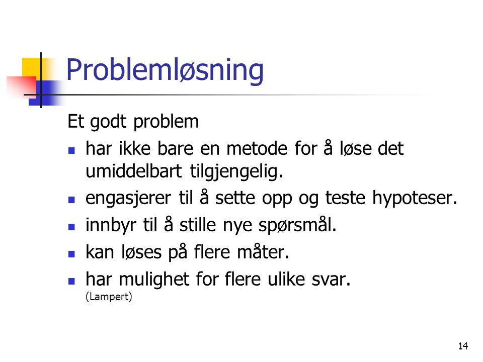 14 Problemløsning Et godt problem har ikke bare en metode for å løse det umiddelbart tilgjengelig. engasjerer til å sette opp og teste hypoteser. innb