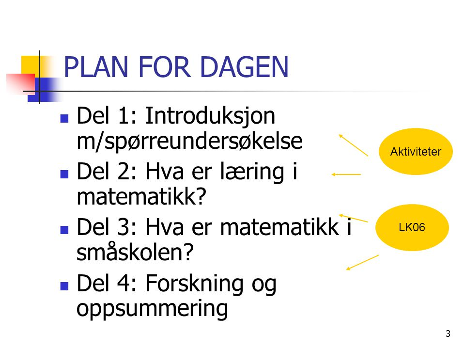 3 PLAN FOR DAGEN Del 1: Introduksjon m/spørreundersøkelse Del 2: Hva er læring i matematikk? Del 3: Hva er matematikk i småskolen? Del 4: Forskning og