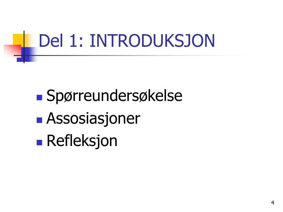 4 Del 1: INTRODUKSJON Spørreundersøkelse Assosiasjoner Refleksjon