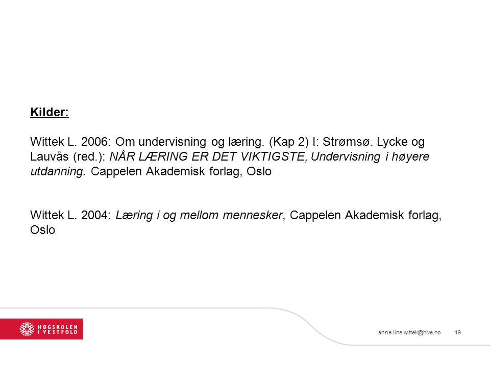 Kilder: Wittek L. 2006: Om undervisning og læring. (Kap 2) I: Strømsø. Lycke og Lauvås (red.): NÅR LÆRING ER DET VIKTIGSTE, Undervisning i høyere utda