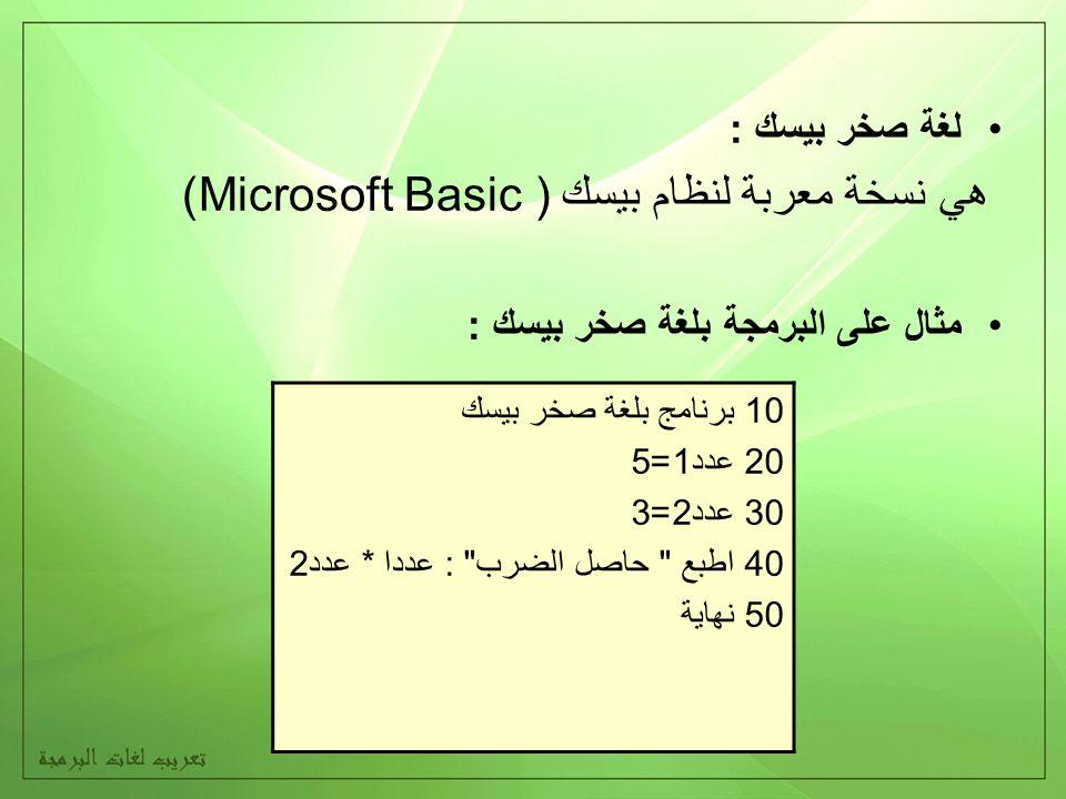 لغة صخر بيسك : هي نسخة معربة لنظام بيسك ( Microsoft Basic) مثال على البرمجة بلغة صخر بيسك : 10 برنامج بلغة صخر بيسك 20 عدد1=5 30 عدد2=3 40 اطبع