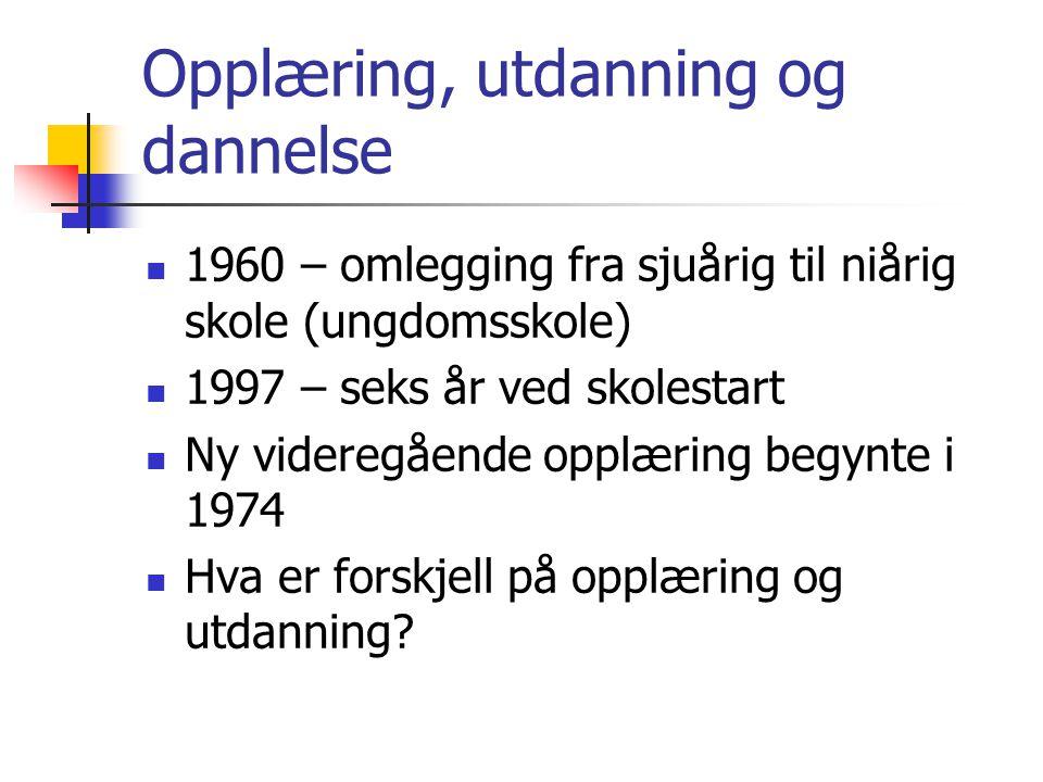 Opplæring, utdanning og dannelse 1960 – omlegging fra sjuårig til niårig skole (ungdomsskole) 1997 – seks år ved skolestart Ny videregående opplæring