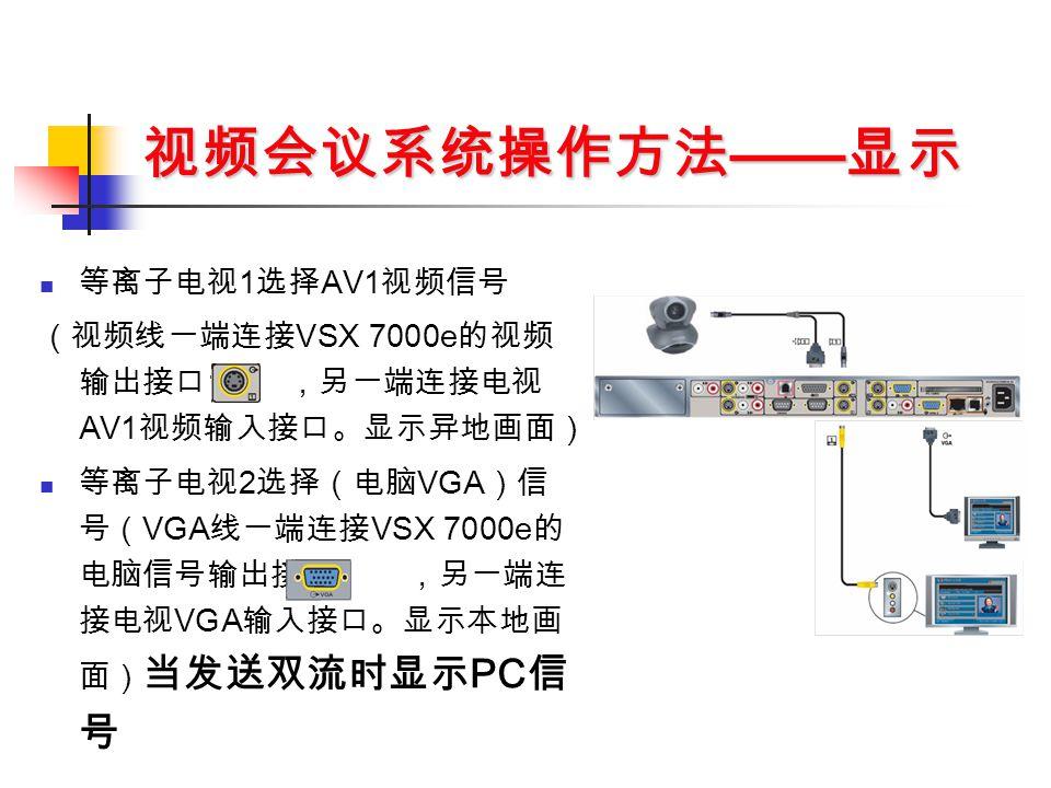 视频会议系统操作方法 —— 显示 等离子电视 1 选择 AV1 视频信号 (视频线一端连接 VSX 7000e 的视频 输出接口 1 ,另一端连接电视 AV1 视频输入接口。显示异地画面) 等离子电视 2 选择(电脑 VGA )信 号( VGA 线一端连接 VSX 7000e 的 电脑信号输出接口 ,另一端连 接电视 VGA 输入接口。显示本地画 面) 当发送双流时显示 PC 信 号