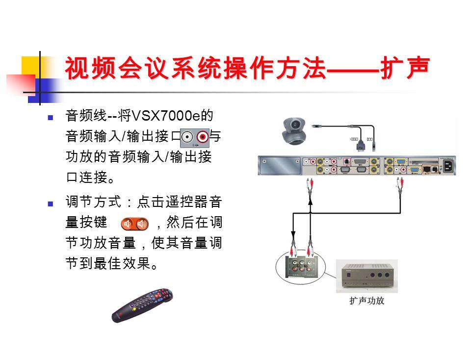 视频会议系统操作方法 —— 扩声 音频线 -- 将 VSX7000e 的 音频输入 / 输出接口 与 功放的音频输入 / 输出接 口连接。 调节方式:点击遥控器音 量按键 ,然后在调 节功放音量,使其音量调 节到最佳效果。