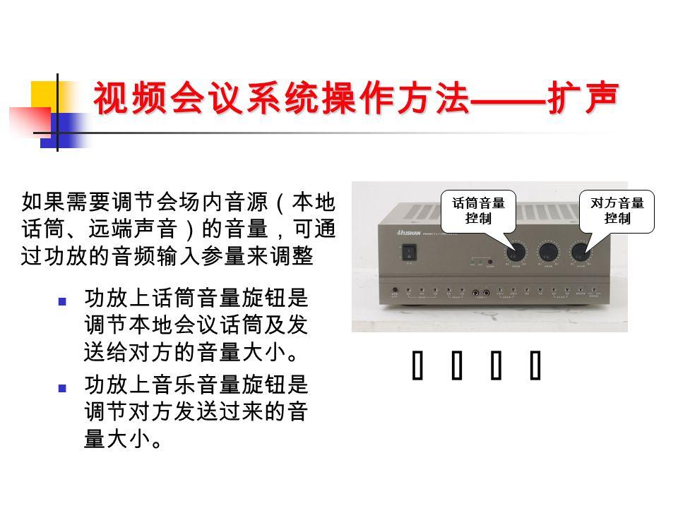 视频会议系统操作方法 —— 扩声 功放上话筒音量旋钮是 调节本地会议话筒及发 送给对方的音量大小。 功放上音乐音量旋钮是 调节对方发送过来的音 量大小。 话筒音量 控制 对方音量 控制 如果需要调节会场内音源(本地 话筒、远端声音)的音量,可通 过功放的音频输入参量来调整