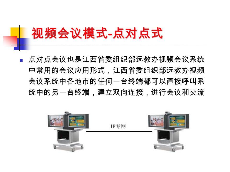 视频会议模式 - 点对点式 点对点会议也是江西省委组织部远教办视频会议系统 中常用的会议应用形式,江西省委组织部远教办视频 会议系统中各地市的任何一台终端都可以直接呼叫系 统中的另一台终端,建立双向连接,进行会议和交流