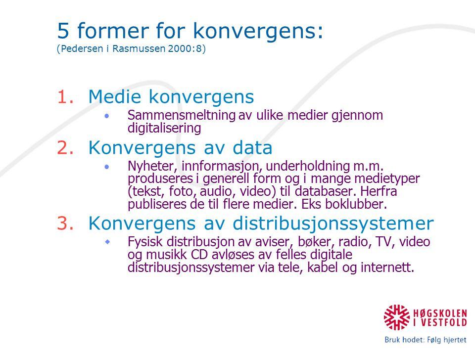 5 former for konvergens: (Pedersen i Rasmussen 2000:8) 1.Medie konvergens Sammensmeltning av ulike medier gjennom digitalisering 2.Konvergens av data