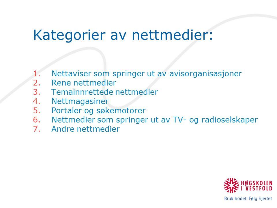 Kategorier av nettmedier: 1.Nettaviser som springer ut av avisorganisasjoner 2.Rene nettmedier 3.Temainnrettede nettmedier 4.Nettmagasiner 5.Portaler