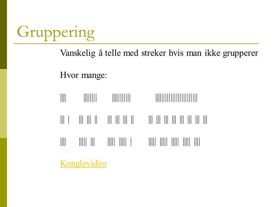 Gruppering Vanskelig å telle med streker hvis man ikke grupperer Hvor mange: |||| |||||||| ||||||||||| |||||||||||||||||||||||| Konglevideo