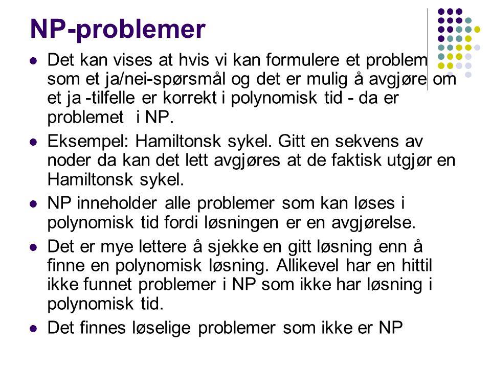 Mange kjente problemer er i NP Hamiltonian circuit Finn en løkke som besøker alle noder en gang.