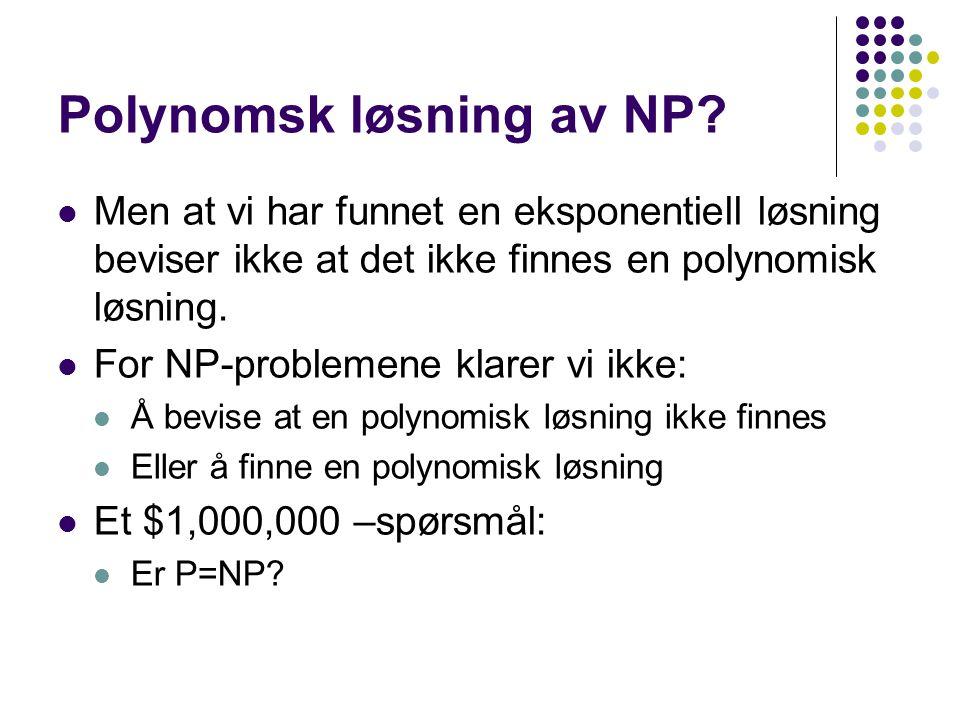 NP-komplette problemer Et subsett av NP som inneholder de vanskeligste Karakteriseres ved at alle NP problem kan reduseres til et hvilket som helst NP-komplett problem i polynomisk tid.