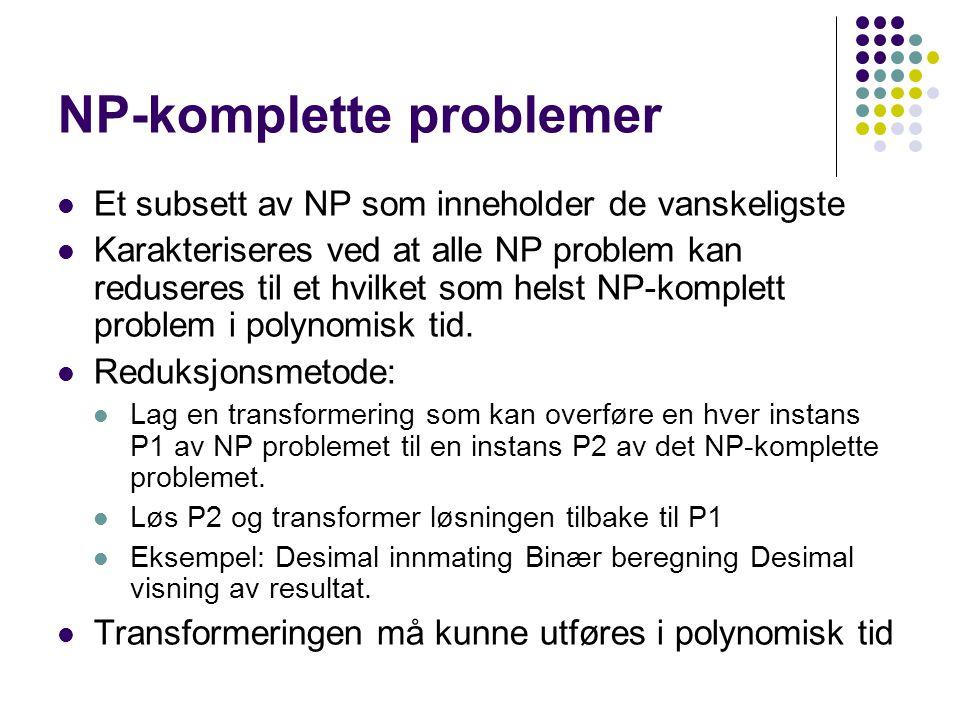 Polynomsk reduksjon Et bestemmelsesproblem D1 er polynomsk reduserbart til D2 hvis det finnes en funksjon t som transformerer alle instanser av D1 til instanser av D2 slik at: t mapper alle D1-ja til D2-ja og alle D1-nei til D2- nei.