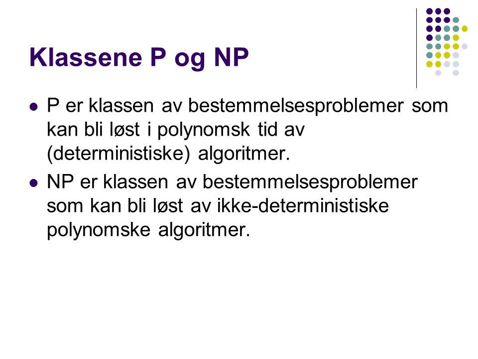 NP-komplette problemer Det finnes en rekke viktige problemer som har tilnærmet samme kompleksitet - disse problemene klassifiseres som NP-komplette problemer.