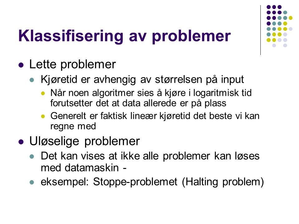 Stoppeproblemet Vi tenker oss at vi skal lage et program Term som kan finne ut om et annet program Q inneholder en evig loop eller vil terminere Term(Q)=true hvis Q avslutter Lager så dette programmet void P(prog Q){ while (Term(Q)); } Utfører så kallet P(P) Vil P terminere da.