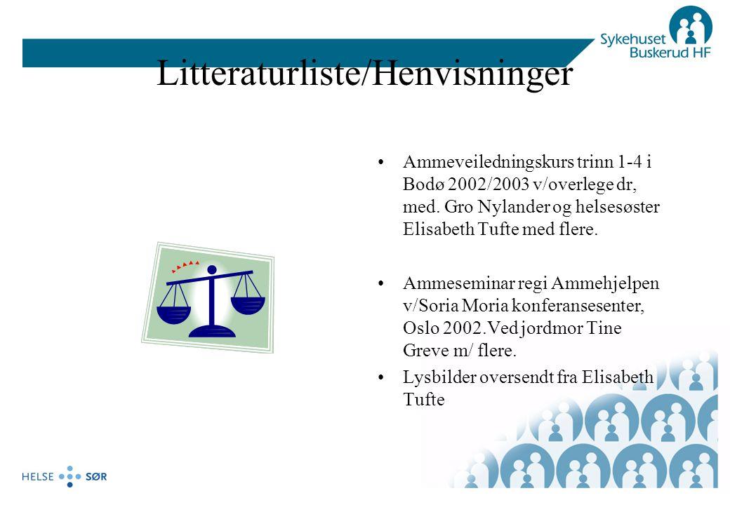 Litteraturliste/Henvisninger Ammeveiledningskurs trinn 1-4 i Bodø 2002/2003 v/overlege dr, med. Gro Nylander og helsesøster Elisabeth Tufte med flere.
