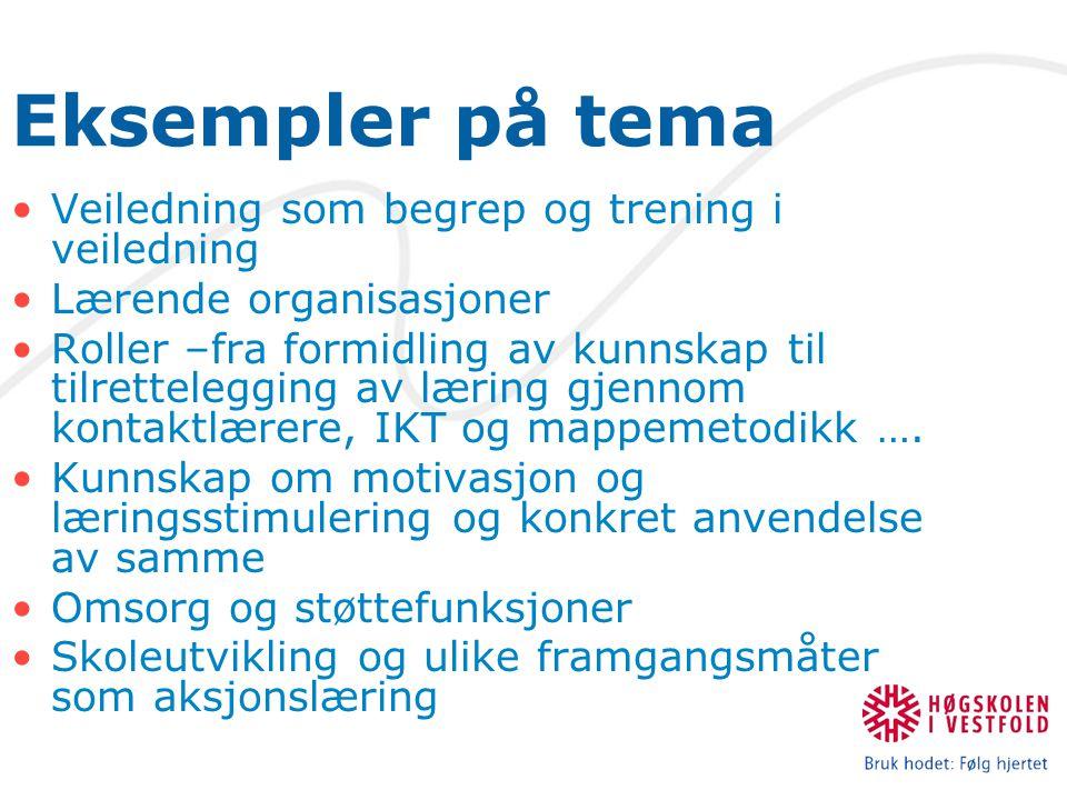 Eksempler på tema Veiledning som begrep og trening i veiledning Lærende organisasjoner Roller –fra formidling av kunnskap til tilrettelegging av læring gjennom kontaktlærere, IKT og mappemetodikk ….