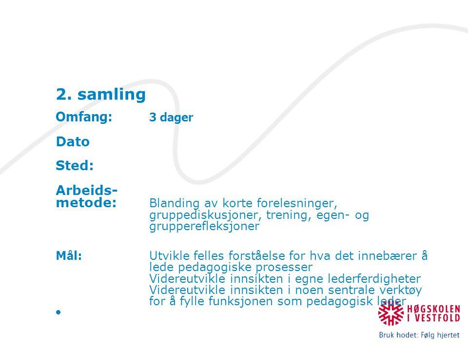 2. samling Omfang: 3 dager Dato Sted: Arbeids- metode: Blanding av korte forelesninger, gruppediskusjoner, trening, egen- og grupperefleksjoner M å l: