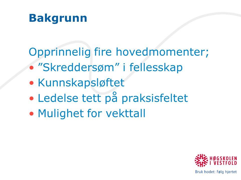 Bakgrunn Opprinnelig fire hovedmomenter; Skreddersøm i fellesskap Kunnskapsløftet Ledelse tett på praksisfeltet Mulighet for vekttall