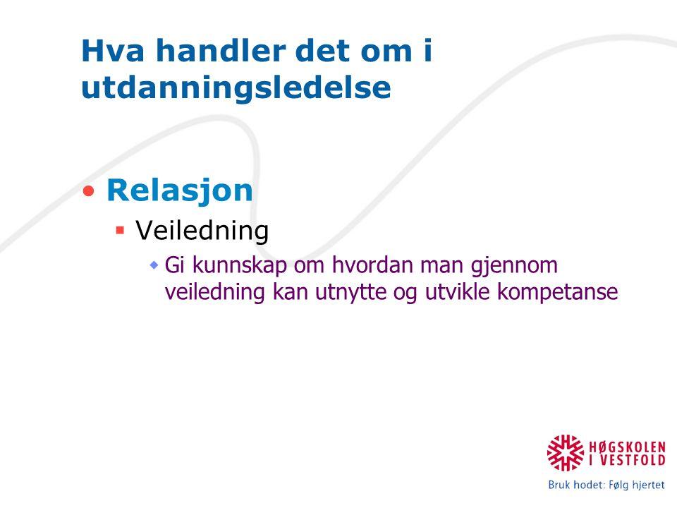 Hva handler det om i utdanningsledelse Relasjon  Veiledning  Gi kunnskap om hvordan man gjennom veiledning kan utnytte og utvikle kompetanse