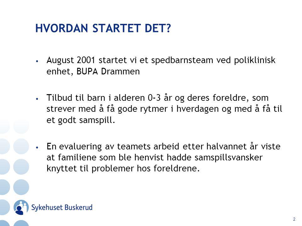 2 HVORDAN STARTET DET? August 2001 startet vi et spedbarnsteam ved poliklinisk enhet, BUPA Drammen Tilbud til barn i alderen 0-3 år og deres foreldre,
