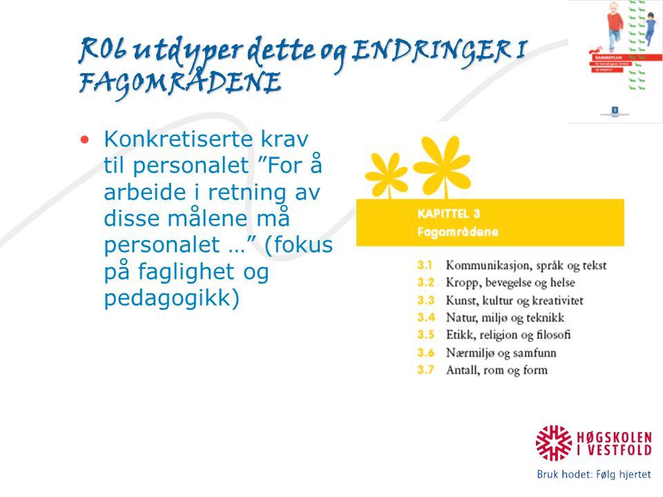 R06 utdyper dette og ENDRINGER I FAGOMRÅDENE Konkretiserte krav til personalet For å arbeide i retning av disse målene må personalet … (fokus på faglighet og pedagogikk)