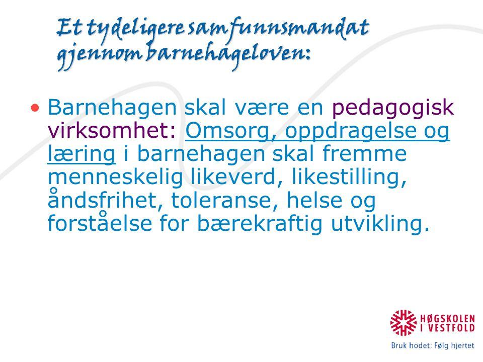 Et tydeligere samfunnsmandat gjennom barnehageloven: Barnehagen skal være en pedagogisk virksomhet: Omsorg, oppdragelse og læring i barnehagen skal fremme menneskelig likeverd, likestilling, åndsfrihet, toleranse, helse og forståelse for bærekraftig utvikling.