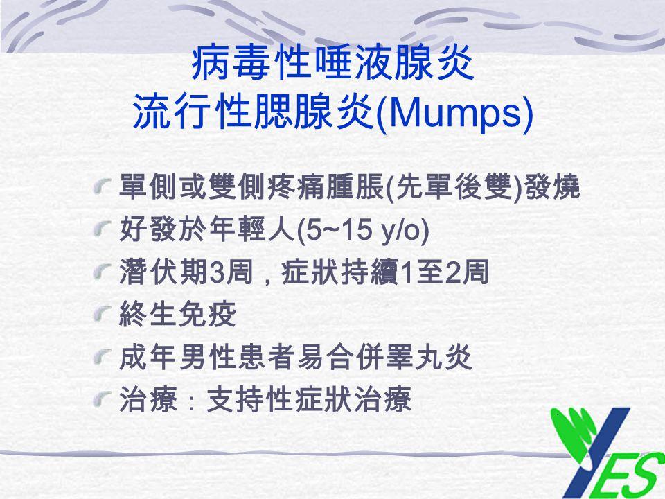 病毒性唾液腺炎 流行性腮腺炎 (Mumps) 單側或雙側疼痛腫脹 ( 先單後雙 ) 發燒 好發於年輕人 (5~15 y/o) 潛伏期 3 周 , 症狀持續 1 至 2 周 終生免疫 成年男性患者易合併睪丸炎 治療 : 支持性症狀治療