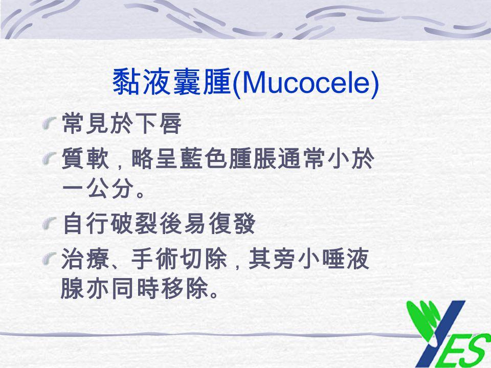 黏液囊腫 (Mucocele) 常見於下唇 質軟 , 略呈藍色腫脹通常小於 一公分 。 自行破裂後易復發 治療 、 手術切除 , 其旁小唾液 腺亦同時移除 。