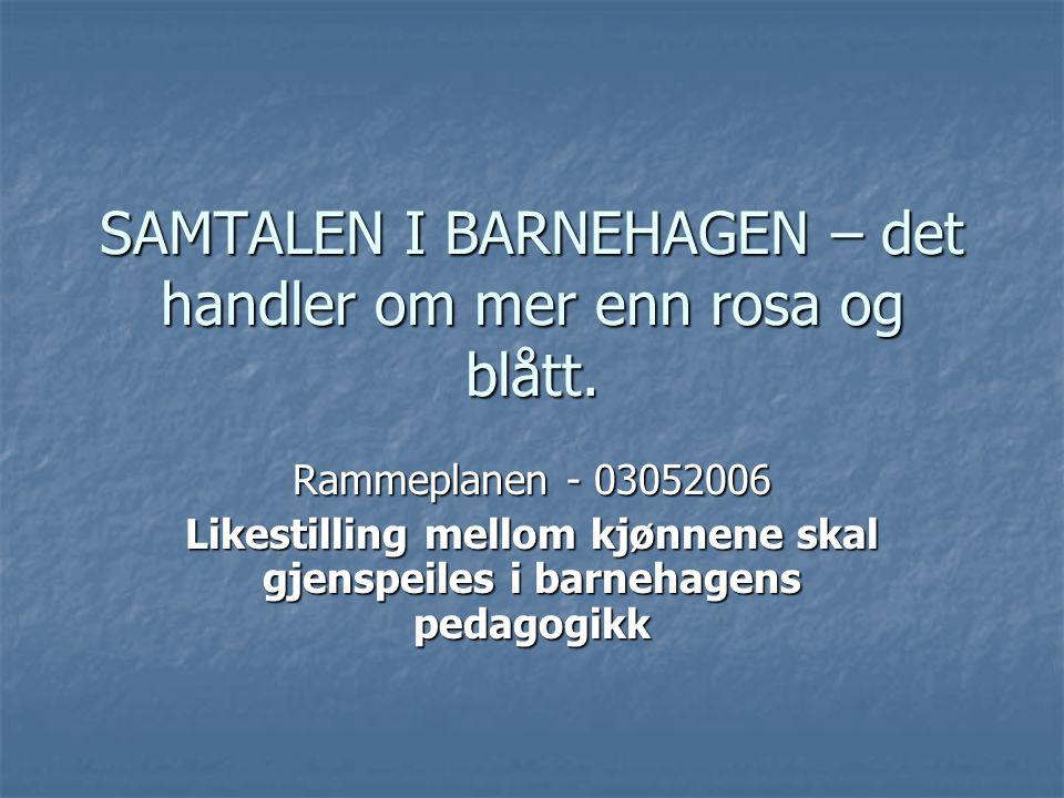 SAMTALEN I BARNEHAGEN – det handler om mer enn rosa og blått. Rammeplanen - 03052006 Likestilling mellom kjønnene skal gjenspeiles i barnehagens pedag