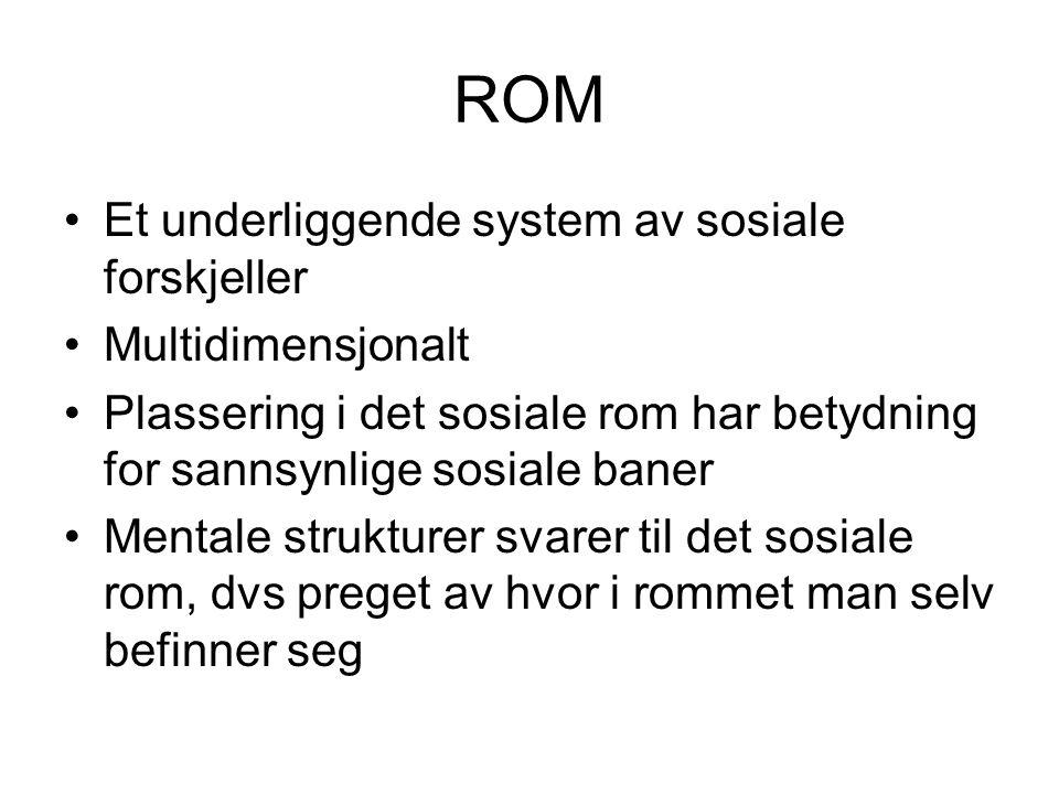 ROM Et underliggende system av sosiale forskjeller Multidimensjonalt Plassering i det sosiale rom har betydning for sannsynlige sosiale baner Mentale strukturer svarer til det sosiale rom, dvs preget av hvor i rommet man selv befinner seg