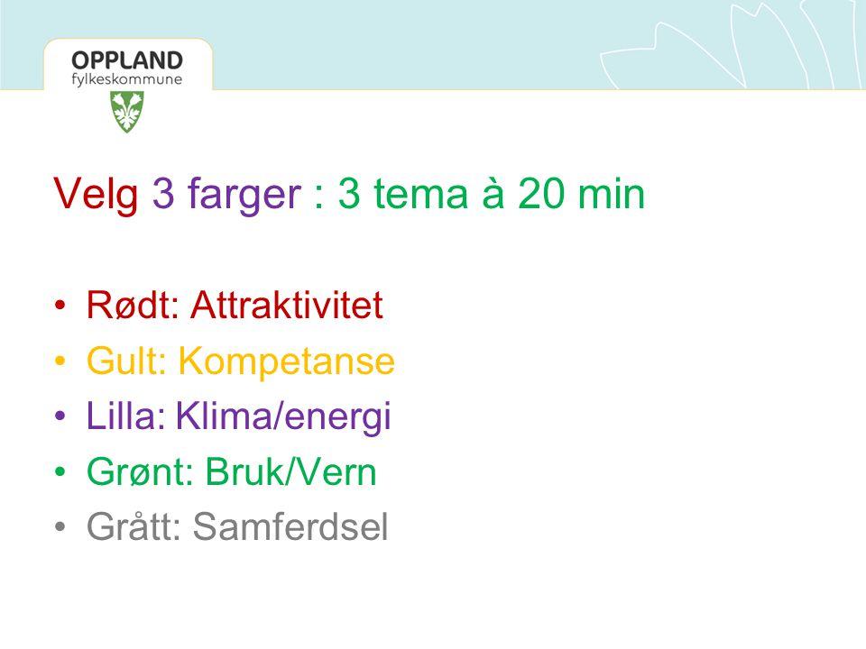 Velg 3 farger : 3 tema à 20 min Rødt: Attraktivitet Gult: Kompetanse Lilla: Klima/energi Grønt: Bruk/Vern Grått: Samferdsel