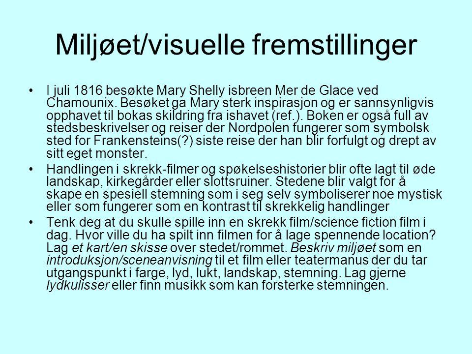 Miljøet/visuelle fremstillinger I juli 1816 besøkte Mary Shelly isbreen Mer de Glace ved Chamounix.