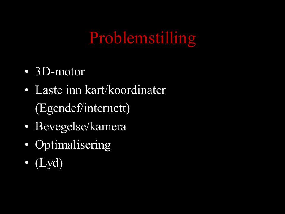 Problemstilling 3D-motor Laste inn kart/koordinater (Egendef/internett) Bevegelse/kamera Optimalisering (Lyd)
