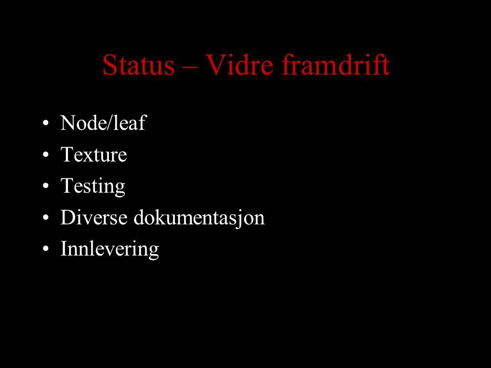 Status – Vidre framdrift Node/leaf Texture Testing Diverse dokumentasjon Innlevering
