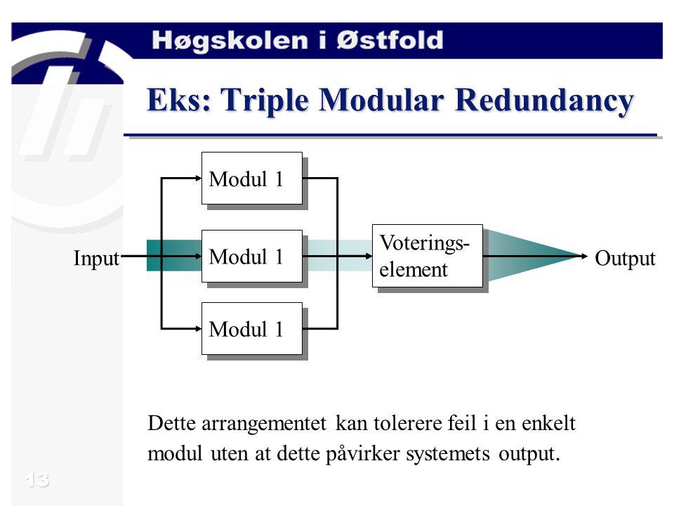 13 Eks: Triple Modular Redundancy Modul 1 Voterings- element InputOutput Dette arrangementet kan tolerere feil i en enkelt modul uten at dette påvirker systemets output.