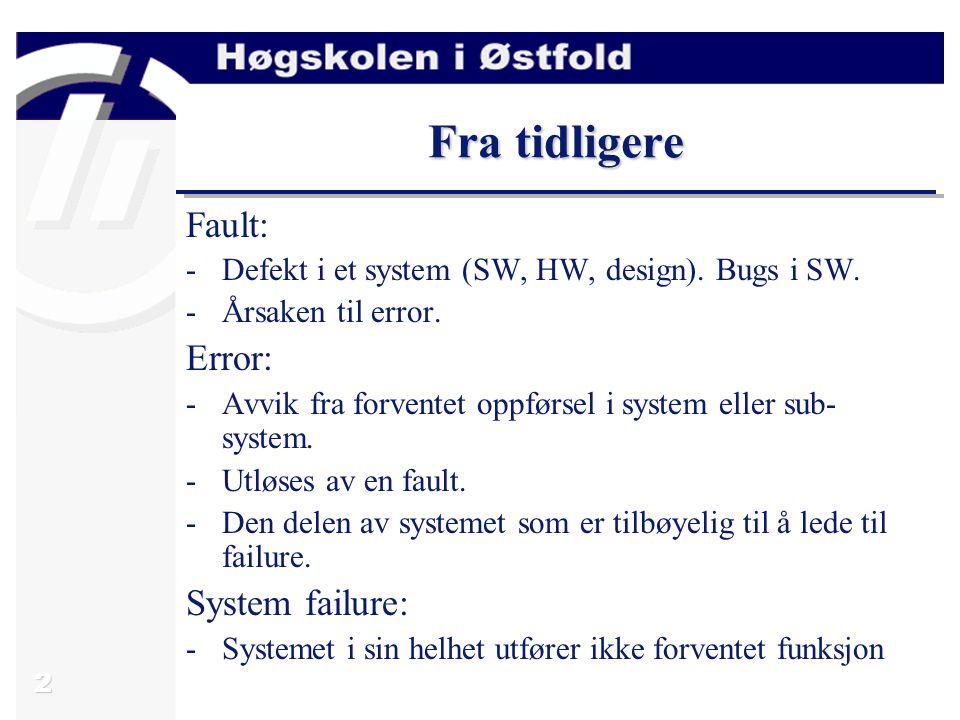 3 Fra tidligere FaultErrorFailure Fault avoidance Fault removal Fault detection Fault tolerance