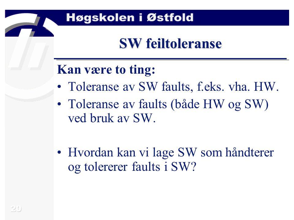 20 SW feiltoleranse Kan være to ting: Toleranse av SW faults, f.eks.