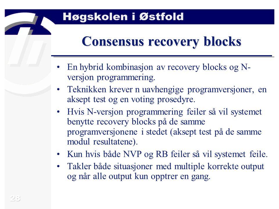 28 Consensus recovery blocks En hybrid kombinasjon av recovery blocks og N- versjon programmering.