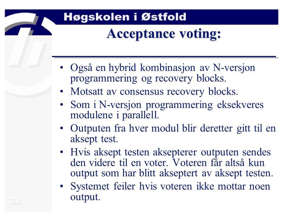 30 Acceptance voting: Også en hybrid kombinasjon av N-versjon programmering og recovery blocks.