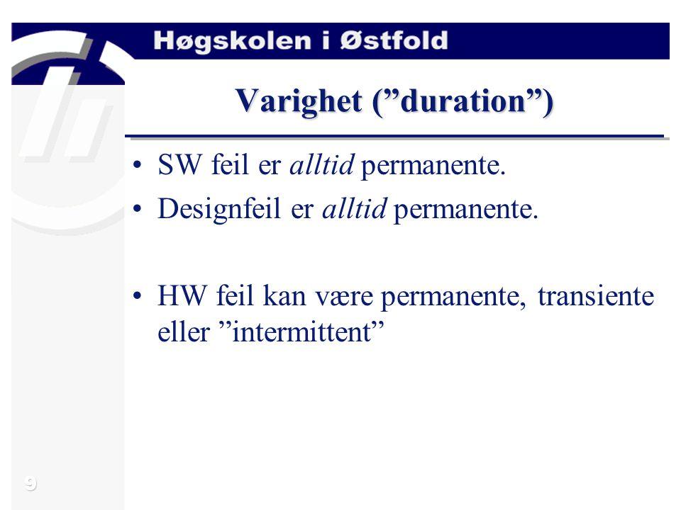 10 Utbredelse ( extent ) Utbredelse: Localized fault (lokal fault) –Har kun effekt for en enkelt HW-komponent eller SW-modul.